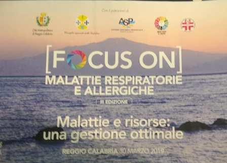 ARIAAA3-ONLUS Partecipa a FOCUS ON III ED. Malattie e Risorse – Reggio Calabria 30 marzo 2019